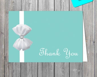 Blue and white bow inspired  Thank You Card, Shabby chic  Thank You Card DIGITAL FILE also available professionally printed