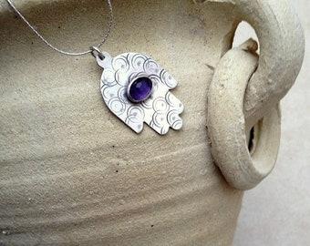 Sterling silver Hamsa necklace ,  Judaica silver  jewel , Hand of Fatima ,  Protection jewelry ,  Big Hamsa pendant