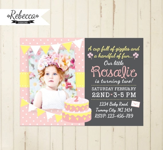 Girl Birthday Invitation First Baby Girl Pink Birthday - Birthday invitation for one year baby