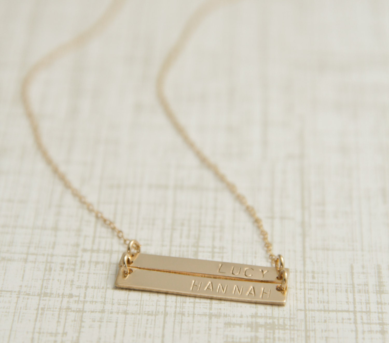 bar necklace two name bar necklace gold by