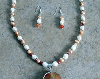 Carnelian and Pearl Necklace and Earring Set