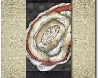 Bloodmoon - Original painted, beaded and stitched Silk Scroll