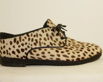 Rare Vintage 8Os Leopard Print Shoes Spotted Cat Look Fur Tie Flat loafers MADE ITALY Women Teens Unisex European Size 38 Atomic Rockabilly