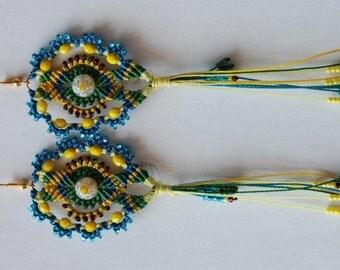 "TUTORIAL (EN) PDF micro macrame earrings ""Navruz"""