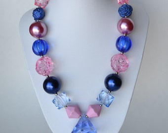 Pink & Blue CHUNKY necklace with acrylic beads, tiger tail stringing, and metal toggle clasp