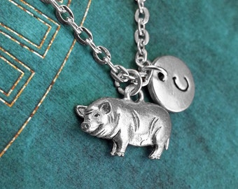 Pig Necklace Pig Jewelry Personalized Jewelry Pig Gift Silver Monogram Necklace Animal Jewelry Pig Charm Jewelry Animal Necklace Pig Pendant