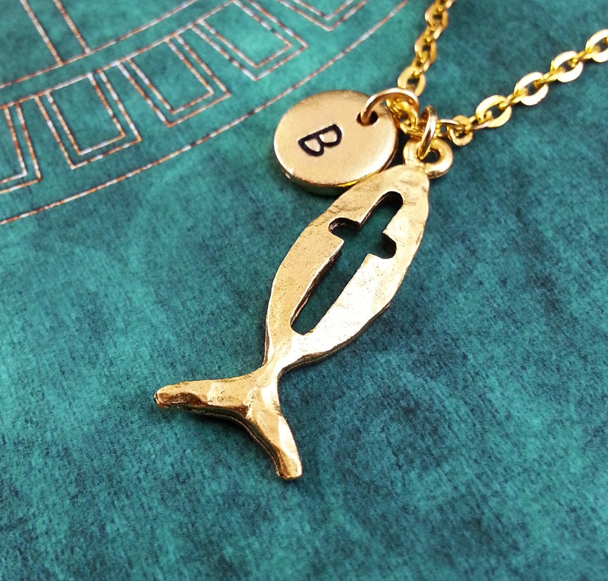 Christian fish necklace gold fish charm hand stamped for Christian fish necklace
