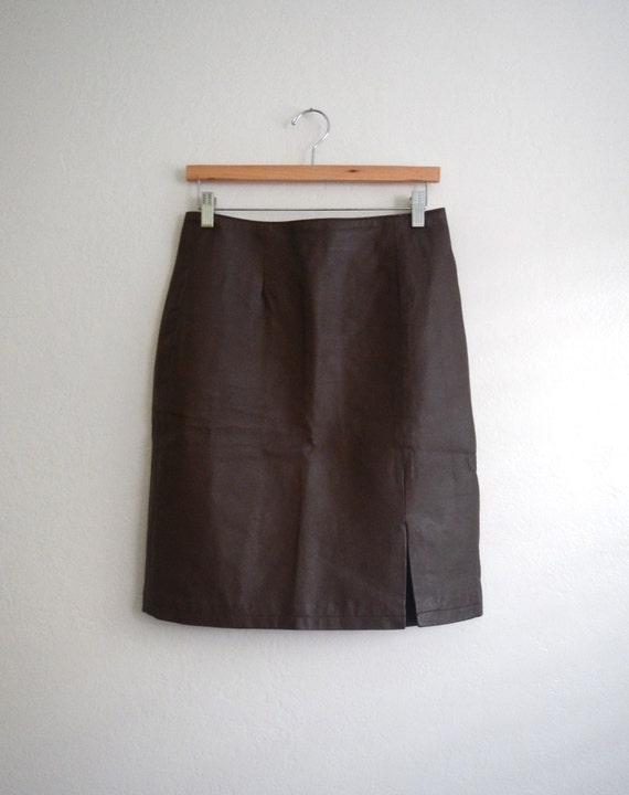 vintage chocolate brown leather pencil skirt by mythandmemory