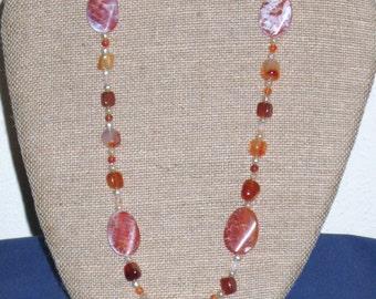 Designer jewelry -Carnelian, pearl necklace set