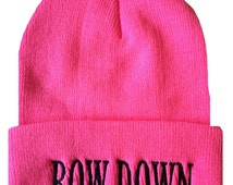 BOW DOWN Cuffed Beanie  Cap Hip Hop Hat Neon Pink/Black