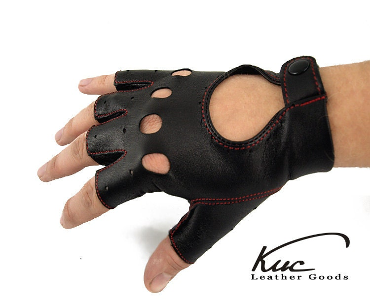 Black fingerless men leather gloves driving by KucLeatherGoods