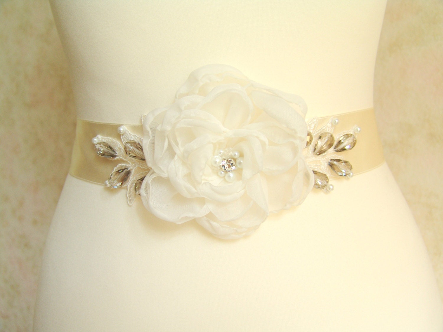 Flower Sash Ivory Bridal Sash Wedding Dress Sash Lace Belt f