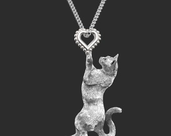 Handmade CAT Jewelry.  Sterling Silver pendant and necklace. Great for all the Cat and Pet Lovers
