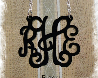 Monogram Acrylic Necklace - Vine Monogram 3 Initial Name Laser cut Acrylic monogram Jewelry - wedding gift