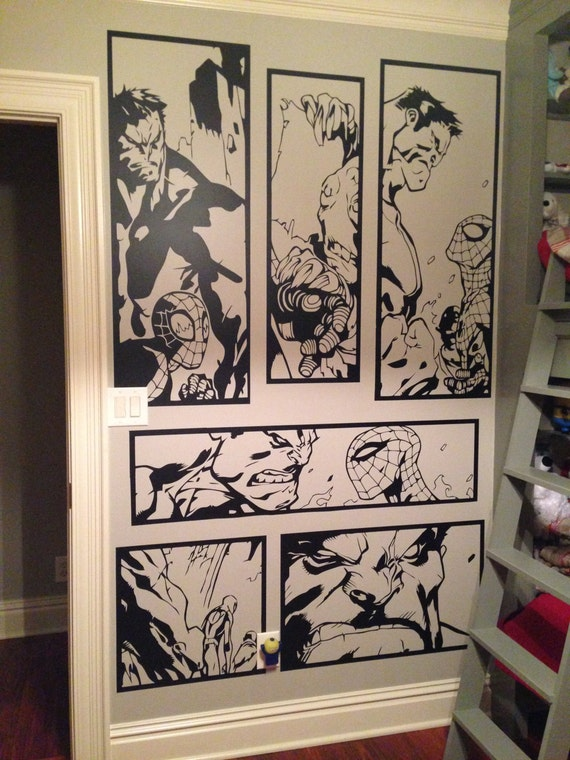 Giant Hulk & Spiderman Comic Vinyl Wall Art Sticker Home Decor Living Room Bedroom