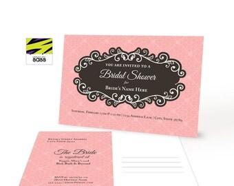 Bridal Shower, Printable, Lingerie Party, Invitation, Vintage, Flourish, Black, Pink, Multicolor, Fishnet Stocking, Postcard