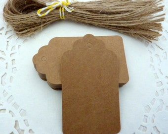 50 Brown Kraft Paper Scalloped Gift Tags Price Tag Crafts 4 x 7cm
