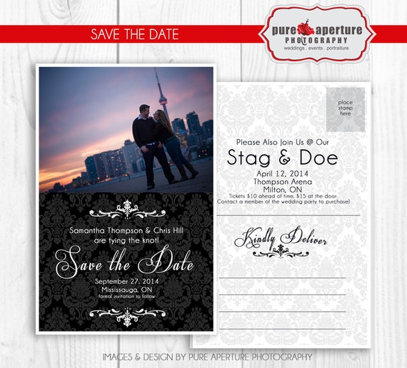 items similar to 4x6 damask wedding save the date announcement postcard psd printable template. Black Bedroom Furniture Sets. Home Design Ideas