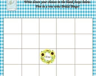 Rustic Plaid Baby Shower Bingo   PDF Printed Available