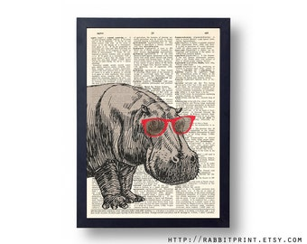 Red Sunglasses Hippo Dictionary art print, 8x10 Hipster Hippopotamus Wall Decal, illustration Dictionary page print, Wall Art Decor