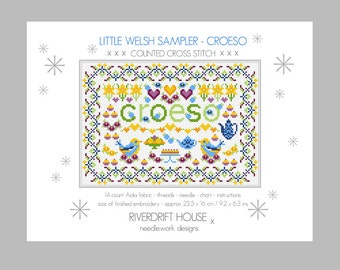 CROSS STITCH KIT Little Welsh Croeso (Welcome) Sampler by Riverdrift House