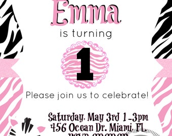Zebra Print Birthday Party Invitation