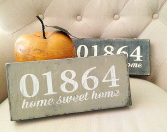 """Handpainted """"Home Sweet Home"""" Wooden Sign - Zip Code (North Reading, MA 01864) - housewarming, hostess, birthday gift"""