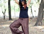 Brown Silk Summer Pants-Silk Wide Leg Pant- Women Harem Pants -Yoga Boho Pants-womens yoga pants- Yoga Clothing- Baggy Pants- Aladdin Pants