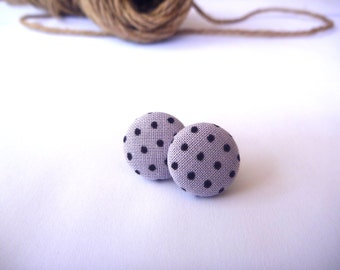 Lavender with Black Polka Dot Fabric Button Post Earring.