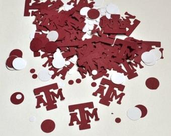 Texas A&M Confetti - ATM Confetti - Aggie Confetti - Aggies - ATM - College Confetti - Maroon Confetti - White Confetti