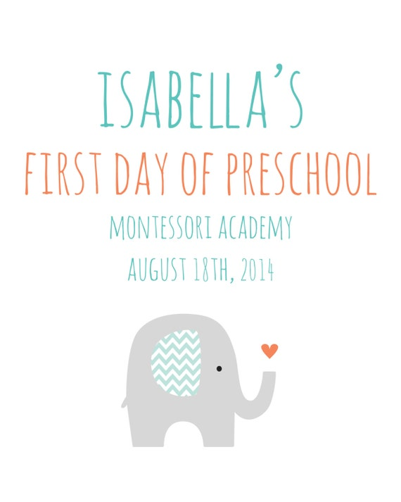 First Day of School Sign Set / Turquoise Mint Coral Chevron Elephant ...