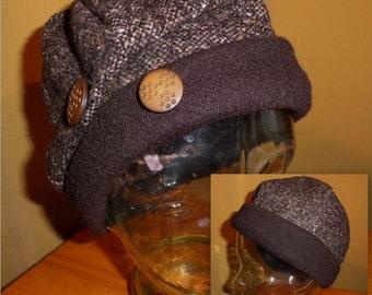 wool tweed and brown hat