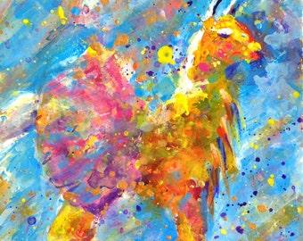 Yellow Llama in Pink Tutu Giclee Print