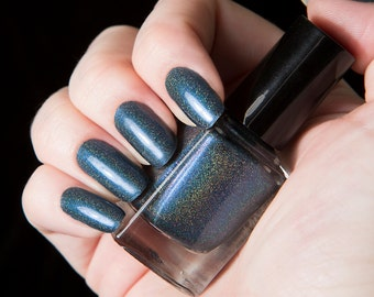 Blue Steel - Smoky Navy Blue Holographic Nail Lacquer - .45oz/13.2mL