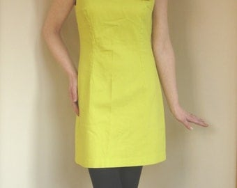 Vintage early 90s Bright Acid neon Yellow Sheath Dress by United Colors of Benetton