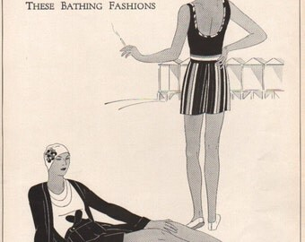 THREE FOR FOUR Art Deco era fashion print from Vogue magazine, front & back - fash 171