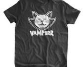 Funny Halloween Black Cat Vampire Tshirt Vampurr T-Shirt Vampires Cat T-shirt Hallows Eve Family Mens Ladies Womens Youth Kids T-shirt