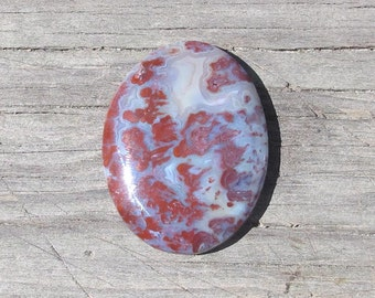 Red Lightning Agate Cabochon, Red Flames in Blue Agate, Pendant Stone, Oval, Designer Cab, Custom Cab, Natural Stone Cabochon, Hand Cut
