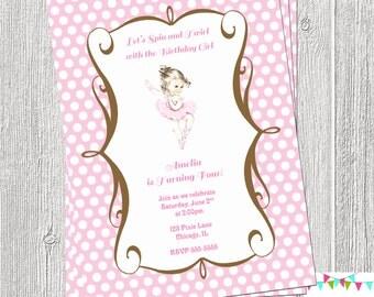 Vintage Ballerina Invitation Printable