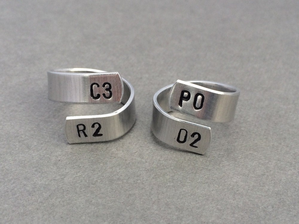 c3po r2d2 best friend rings couple rings hand stamped ring - R2d2 Wedding Ring