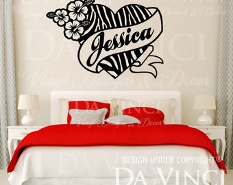 Zebra Print Heart Flower Hibis Personalized Custom Name Room Bedroom Vinyl Wall  Decal Sticker Decoration