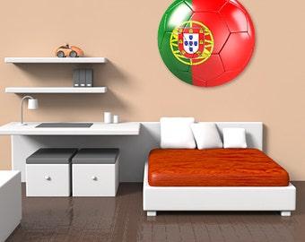 Wall decals soccer ball Portugal A378 - Stickers ballon football Portugal A378
