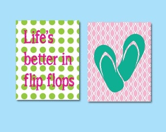 Lifes Better in Flip Flops Art, Kids Art Print, 576