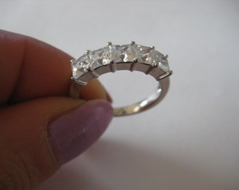 New clear CZ sterling silver ring size 7