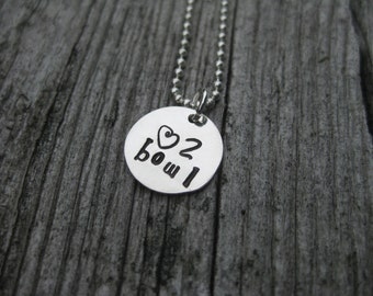 Bowling Necklace Bowling Gift Sterling Silver Hand Stamped Bowling Jewelry Bowler Necklace Bowler Gift Bowler Jewelry Bowl Gift Bowling PIn