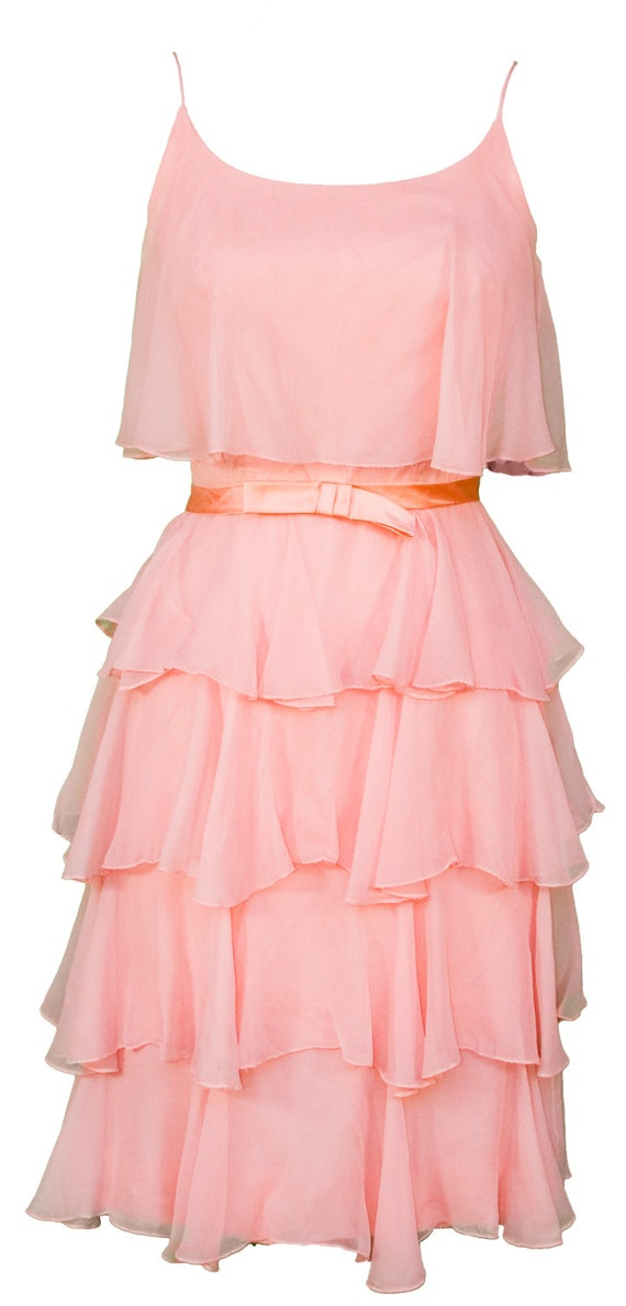 1960s small dress tiered ruffled coral peach pink silk crepe satin bow