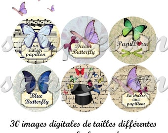 Digital collage sheet, digital images Butterfly, one inch circle, design for pendant, scrapbooking and bottle caps,cabochon,instant download