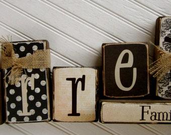 Customized Family Last Name Blocks - Established Blocks Wood Family Home Wedding Gift