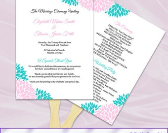 Pink Turquoise Wedding Program Fan Template, Diy Printable Floral Ceremony Paddle Fan Programs, Editable Text, Instant Download Word Pdf P40