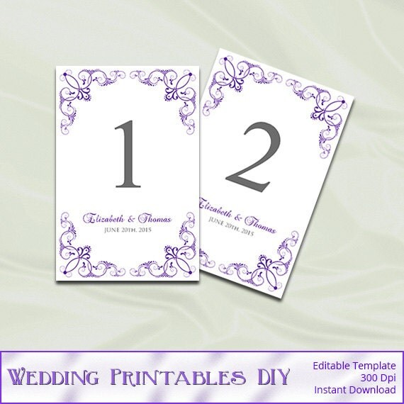 table numbers template for weddings - wedding table number template diy by weddingprintablesdiy